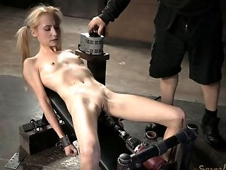 Slender Blonde Cutie Gargles On A Cane And Gets Pleasured With Fucktoys