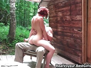 Duo Pefect Mommy Outdoor Copulate At Wood