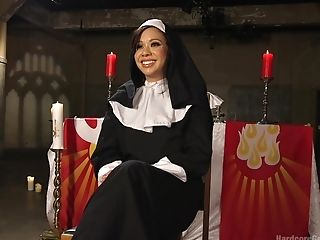 Asian Gal Kimmy Lee Clothed As A Nun Gets Rough Gang-bang Fuckfest