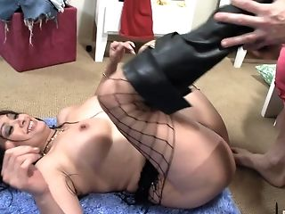 Black Haired Asian Mummy Fucks A Big Milky Man-meat In Boots And Fishnets