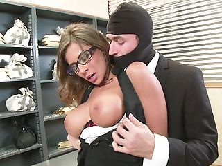 Sexy Bank Employee Tied And Fucked During Robbery