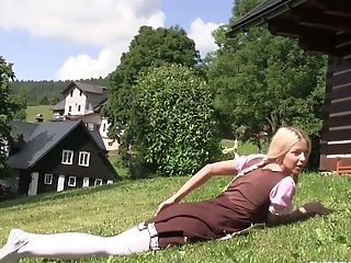 Tempting Blondie Stunner With Ponytails Karol Lilien Masturbates Muff On The Lawn