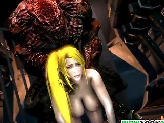 Sexy Stunner Samus Is Stranded On Alien Planet Before She Gets Alien Dick In Her Moist Cooter