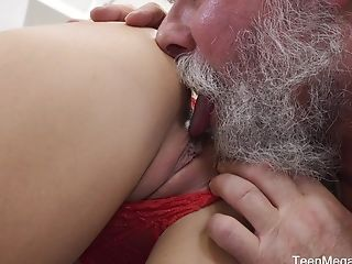 Katy Rose Loves When Her Old Neighbor Licks Her Trimmed And Humid Cooter