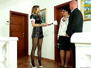 Promiscuous Maid In A Spandex Uniform Gets Fucked By A Married Duo