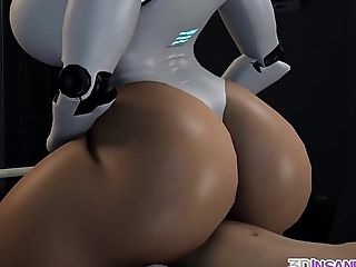 Insatiable Masked Three Dimensional Dark-hued Robot Liking Dick Rail And Taunt Session For That Massive Dick