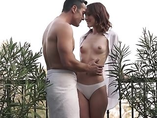 Man Takes Douche And Bum-fucks Puny-tittied Gf Outdoors