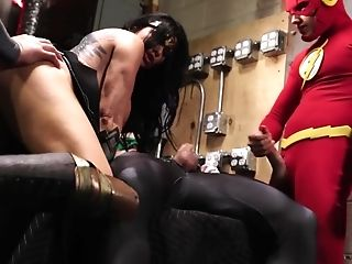 Costume Play Four-way With Matures Dark Haired Superwoman Romi Rain