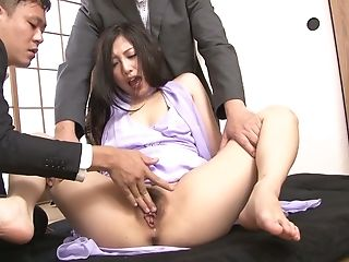 Bunghole Of Slender Japanese Cutie Maki Takei Gets Creampied During Mmf