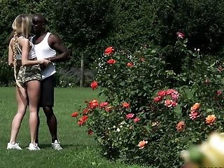 Big Black Salami Banging Cock-squeezing Crevasses Of Sweet Dame Empera In The Garden