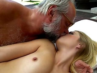 Provocative Blonde Aria Logan Fucks Horny Old Fart In The Poolside