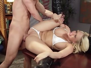 Passion Inducing Blonde Gets No Condom Fuckfest Up Her Taut Vagina.