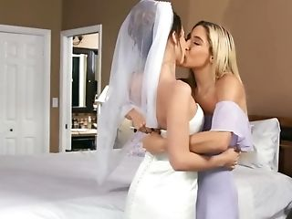 Bride And Her Gf Go To The Sofa To Fuck One Last Time