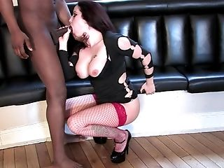 Pervy Brown-haired Sasha Rose Rails A Big Black Spear In Fishnets