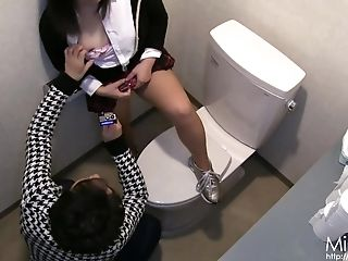 Japanese Teenage Gets Bizarre And Horny In The Public Restroom.